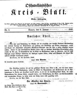 Osthavelländisches Kreisblatt vom 06.01.1849
