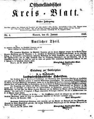 Osthavelländisches Kreisblatt on Jan 13, 1849