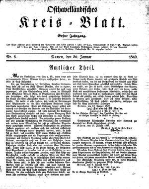 Osthavelländisches Kreisblatt vom 20.01.1849