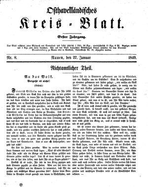 Osthavelländisches Kreisblatt vom 27.01.1849