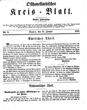 Osthavelländisches Kreisblatt vom 31.01.1849
