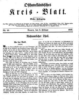 Osthavelländisches Kreisblatt vom 03.02.1849