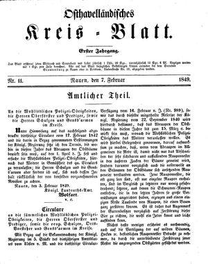Osthavelländisches Kreisblatt vom 07.02.1849