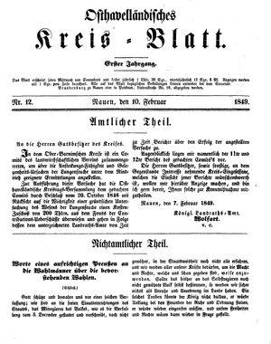 Osthavelländisches Kreisblatt on Feb 10, 1849