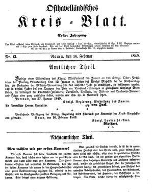 Osthavelländisches Kreisblatt vom 14.02.1849