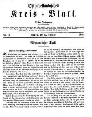 Osthavelländisches Kreisblatt vom 17.02.1849