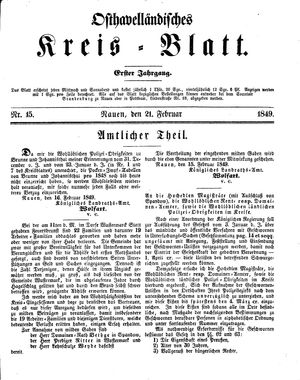 Osthavelländisches Kreisblatt vom 21.02.1849
