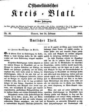 Osthavelländisches Kreisblatt vom 24.02.1849