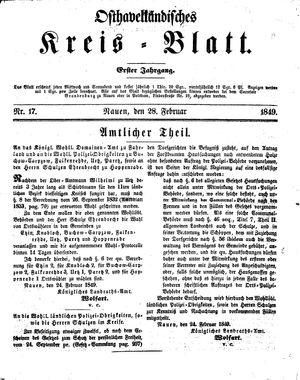 Osthavelländisches Kreisblatt vom 28.02.1849