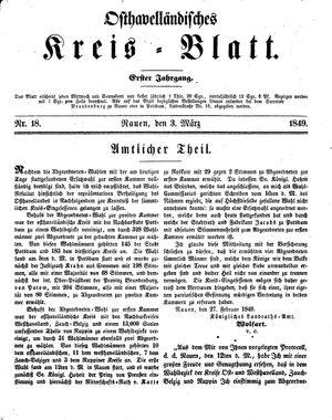 Osthavelländisches Kreisblatt vom 03.03.1849