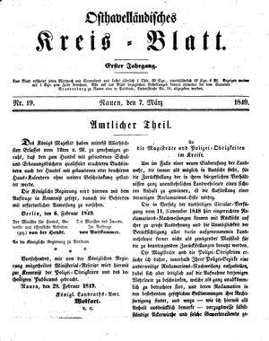 Osthavelländisches Kreisblatt vom 07.03.1849