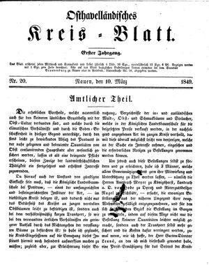 Osthavelländisches Kreisblatt vom 10.03.1849