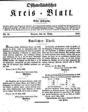 Osthavelländisches Kreisblatt vom 14.03.1849