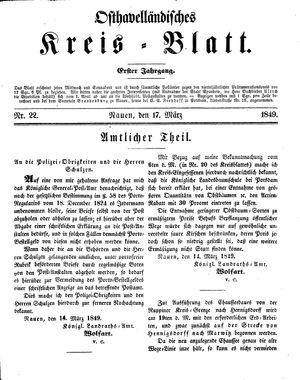 Osthavelländisches Kreisblatt vom 17.03.1849