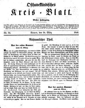 Osthavelländisches Kreisblatt vom 24.03.1849