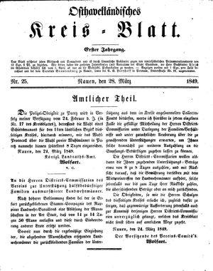 Osthavelländisches Kreisblatt on Mar 28, 1849