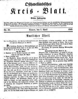 Osthavelländisches Kreisblatt vom 07.04.1849