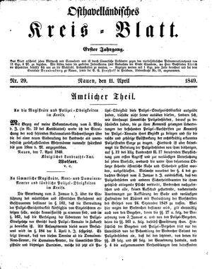 Osthavelländisches Kreisblatt vom 11.04.1849