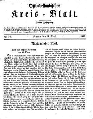 Osthavelländisches Kreisblatt vom 14.04.1849