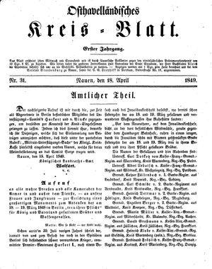 Osthavelländisches Kreisblatt on Apr 18, 1849