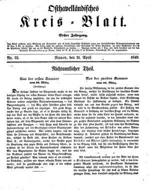 Osthavelländisches Kreisblatt vom 21.04.1849