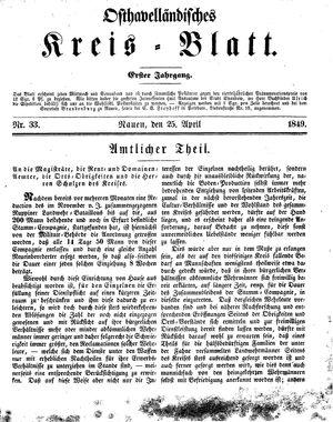 Osthavelländisches Kreisblatt vom 25.04.1849