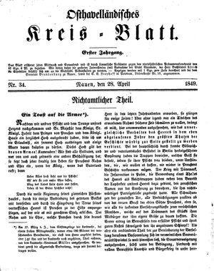 Osthavelländisches Kreisblatt on Apr 28, 1849
