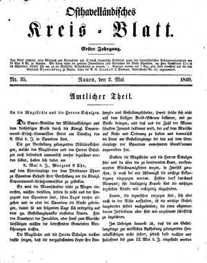 Osthavelländisches Kreisblatt vom 02.05.1849