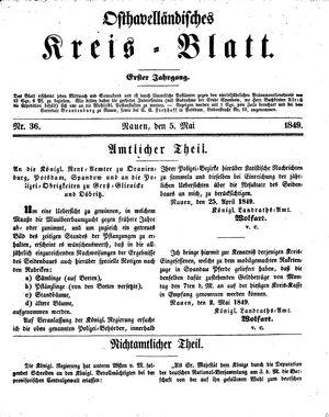 Osthavelländisches Kreisblatt vom 05.05.1849