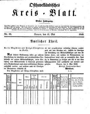 Osthavelländisches Kreisblatt vom 12.05.1849