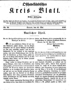 Osthavelländisches Kreisblatt vom 16.05.1849