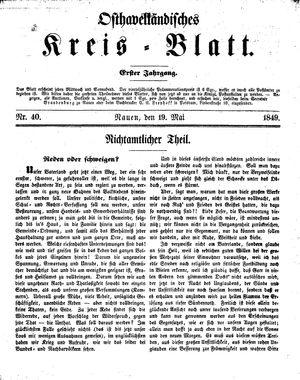 Osthavelländisches Kreisblatt vom 19.05.1849