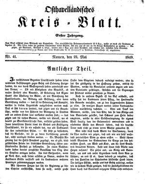Osthavelländisches Kreisblatt vom 23.05.1849