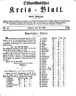 Osthavelländisches Kreisblatt vom 26.05.1849