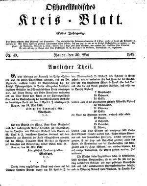 Osthavelländisches Kreisblatt on May 30, 1849