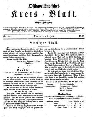 Osthavelländisches Kreisblatt vom 02.06.1849