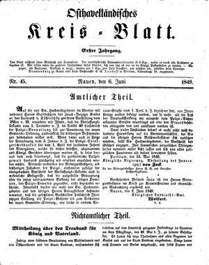 Osthavelländisches Kreisblatt vom 06.06.1849