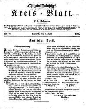 Osthavelländisches Kreisblatt vom 09.06.1849