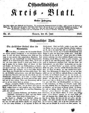 Osthavelländisches Kreisblatt on Jun 13, 1849