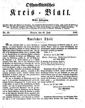 Osthavelländisches Kreisblatt vom 16.06.1849