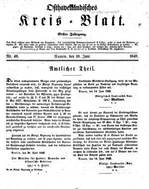 Osthavelländisches Kreisblatt vom 19.06.1849