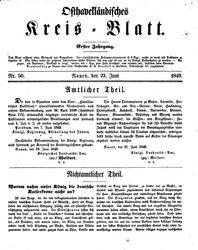 Osthavelländisches Kreisblatt (23.06.1849)