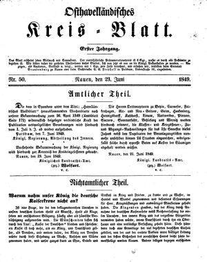Osthavelländisches Kreisblatt vom 23.06.1849