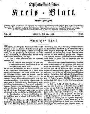 Osthavelländisches Kreisblatt vom 27.06.1849