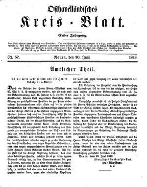 Osthavelländisches Kreisblatt vom 30.06.1849