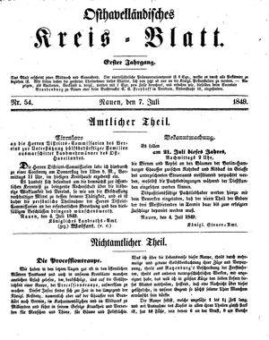 Osthavelländisches Kreisblatt vom 07.07.1849