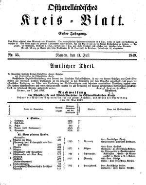 Osthavelländisches Kreisblatt vom 11.07.1849