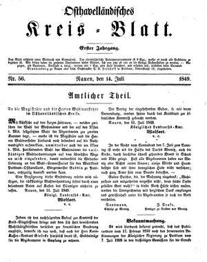 Osthavelländisches Kreisblatt on Jul 14, 1849