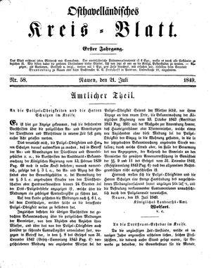 Osthavelländisches Kreisblatt vom 21.07.1849