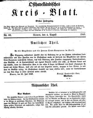 Osthavelländisches Kreisblatt on Aug 4, 1849